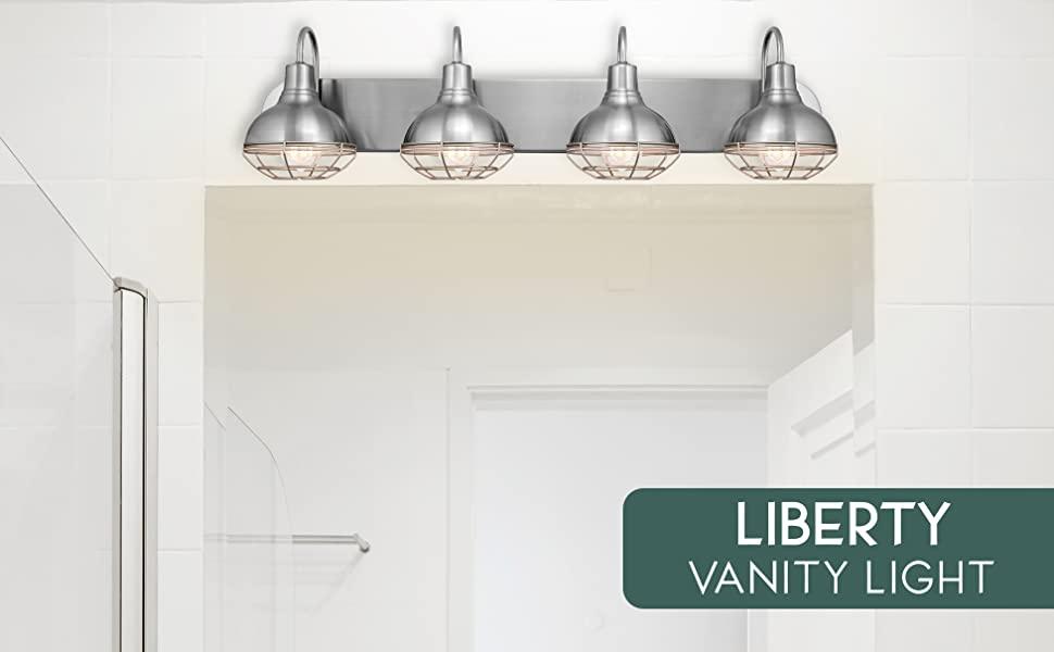 "62850a64 48a8 4aa9 bfa8 db1d5fa3a25d.  CR0,0,1956,1210 PT0 SX970 V1    - Kira Home Liberty 36"" 4-Light Modern Industrial Vanity/Bathroom, Kitchen Light + Metal Cage Shades, Brushed Nickel Finish"