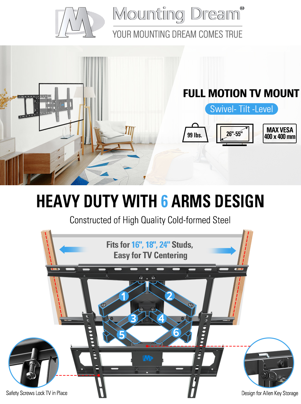 """8ac04474 3471 46de 8298 fe9961fa2093.  UX970 V1    - Mounting Dream TV Mount Full Motion TV Wall Mounts for 26-55 Inch Flat Screen TV, Wall Mount TV Bracket with Dual Arms, Max VESA 400x400mm and 99 LBS, Fits 16"""", 18"""", 24"""" Studs MD2380-24K TV Mounts"""
