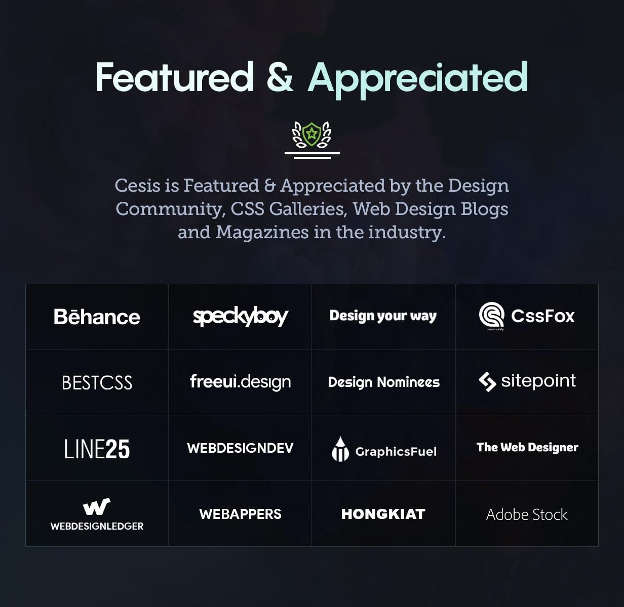 Cesis WP Featured Appreciated 24 Jul 2018 - Cesis   Responsive Multi-Purpose WordPress Theme