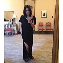 JRGenZbTQuX. UX220 TTW   - GRECERELLE Women's Casual Loose Pocket Long Dress Short Sleeve Split Maxi Dresses