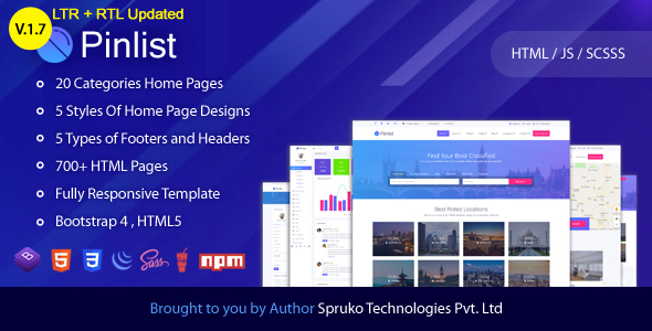 Theme Preview.  large preview - Pinlist - Directory, Classifieds and Jobs Multipurpose Bootstrap4 HTML5 Listing Template