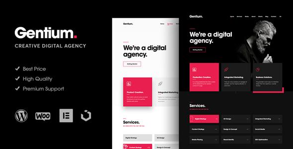 Theme Preview.  large preview - Gentium – A Creative Digital Agency WordPress Theme