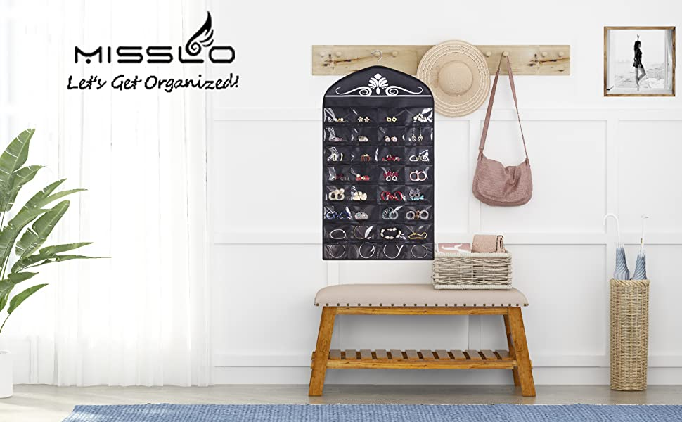 a28780a3 5563 42ba a997 5987c58e00fe.  CR0,0,2696,1668 PT0 SX970 V1    - Misslo Jewelry Hanging Non-Woven Organizer Holder 32 Pockets 18 Hook and Loops - Black
