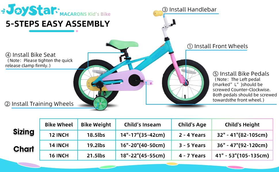 """a53e6eeb aea7 4b70 81fe 5eee363fa174.  CR0,0,970,600 PT0 SX970 V1    - JOYSTAR 12"""" 14"""" 16"""" Kids Bike for 2-7 Years Girls 33-53 inch Tall, Girls Bicycle with Training Wheels & Coaster Brake, 85% Assembled, Macarons"""