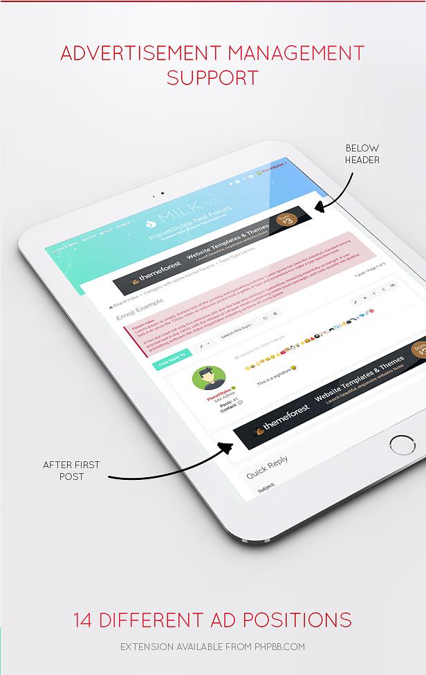 ad support - Milk - Multipurpose Responsive phpBB 3.3 Theme