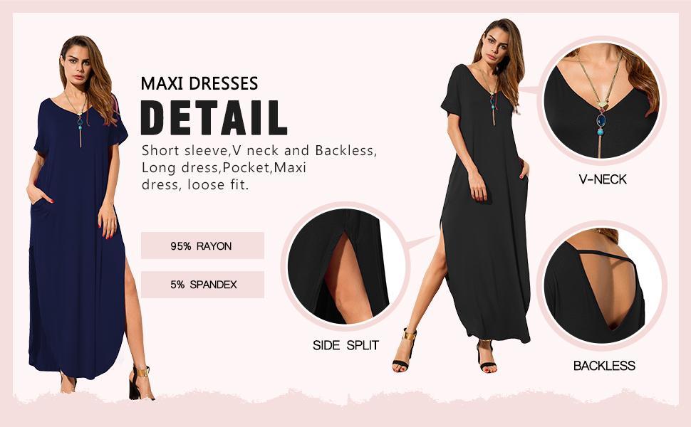 c1345803 7ecf 4cd0 8582 1b52d683c098.  CR0,0,970,600 PT0 SX970 V1    - GRECERELLE Women's Casual Loose Pocket Long Dress Short Sleeve Split Maxi Dresses