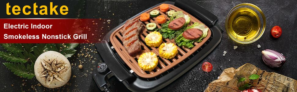 """cbcc2c76 57ad 44ce b265 c676ff90e3fc.  CR0,0,970,300 PT0 SX970 V1    - Nonstick Electric Indoor Smokeless Grill - Portable BBQ Grills with Recipes, Fast Heating, Adjustable Thermostat, Easy to Clean, 16"""" x 11"""" Tabletop Square Grill with Oil Drip Pan"""