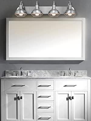 "cc4fbe10 00a3 4f80 8da7 1ec81fb92f18.  CR0,0,1500,2000 PT0 SX300 V1    - Kira Home Liberty 36"" 4-Light Modern Industrial Vanity/Bathroom, Kitchen Light + Metal Cage Shades, Brushed Nickel Finish"