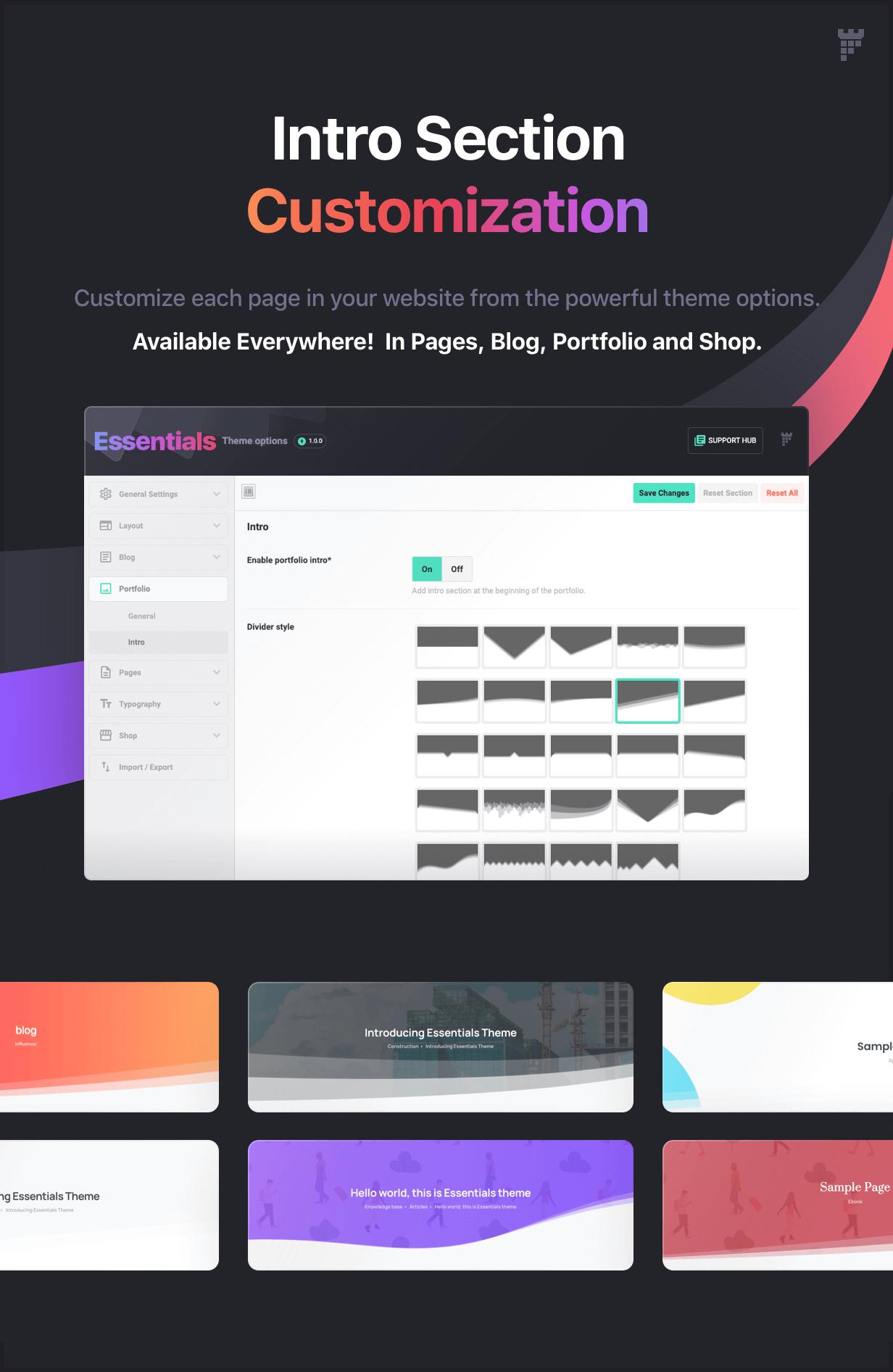 custom intro - Essentials | Multipurpose WordPress Theme