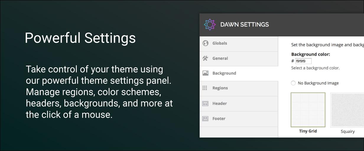 dawn preview settings - Dawn - Multipurpose Responsive Drupal 9 Theme