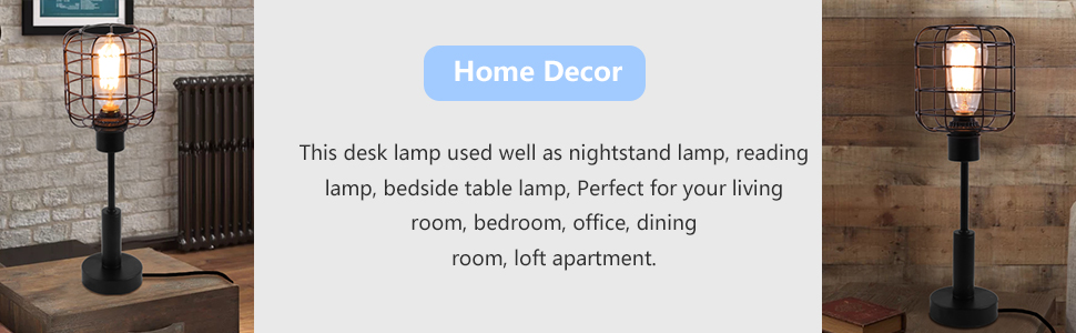 dcd7fa2f b0c8 4e06 ab75 411c08f6bb44.  CR0,0,970,300 PT0 SX970 V1    - Edison Lamp, Industrial Desk Lamp, Metal Shade Cage Table Lamp for Nightstand, Bedside, Dressers, Coffee Table, Night Light Home Decor, Black