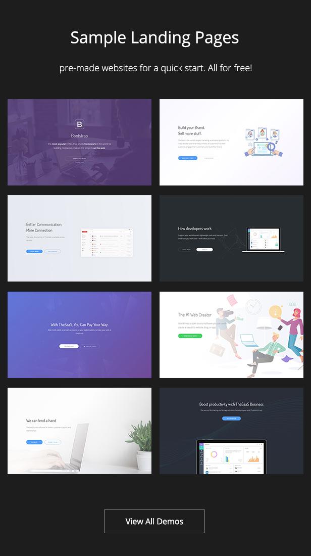 demos - TheSaaS X - Responsive SaaS, Startup & Business WordPress Theme