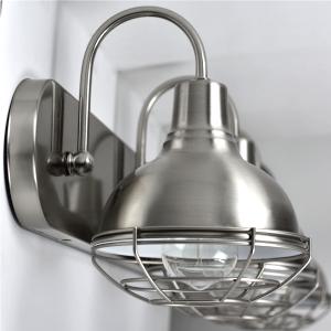 "e2744732 a127 4683 b660 971cc883a378.  CR0,0,300,300 PT0 SX300 V1    - Kira Home Liberty 36"" 4-Light Modern Industrial Vanity/Bathroom, Kitchen Light + Metal Cage Shades, Brushed Nickel Finish"