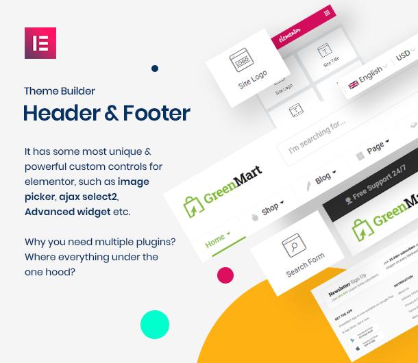greenmart header and footer builder elementor - GreenMart – Organic & Food WooCommerce WordPress Theme