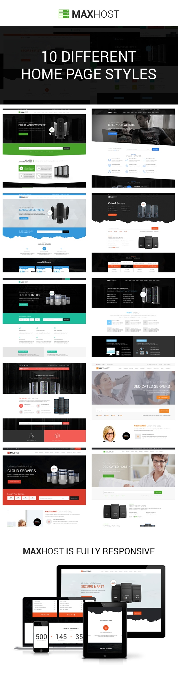maxhost 10 different home styles - MaxHost - Web Hosting, WHMCS and Corporate Business WordPress Theme with WooCommerce
