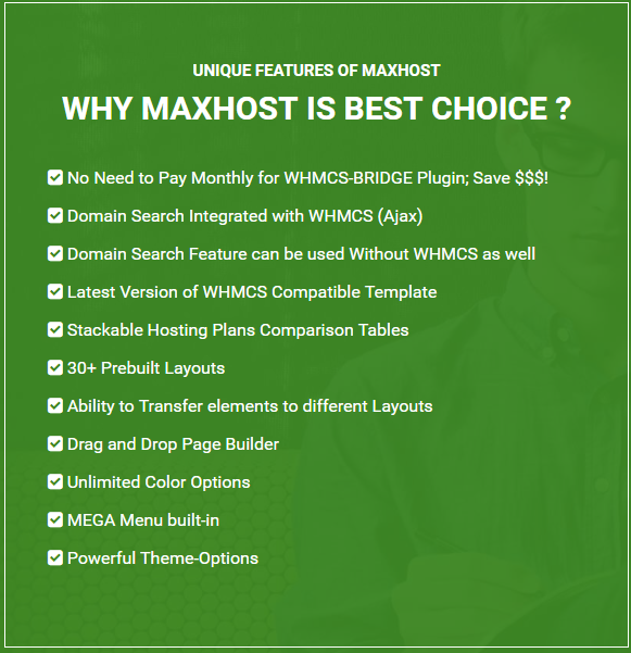 maxhost features - MaxHost - Web Hosting, WHMCS and Corporate Business WordPress Theme with WooCommerce