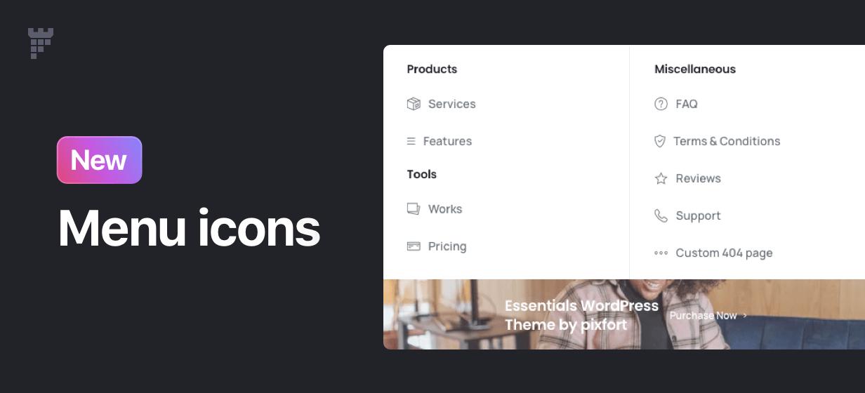 menu icons - Essentials | Multipurpose WordPress Theme