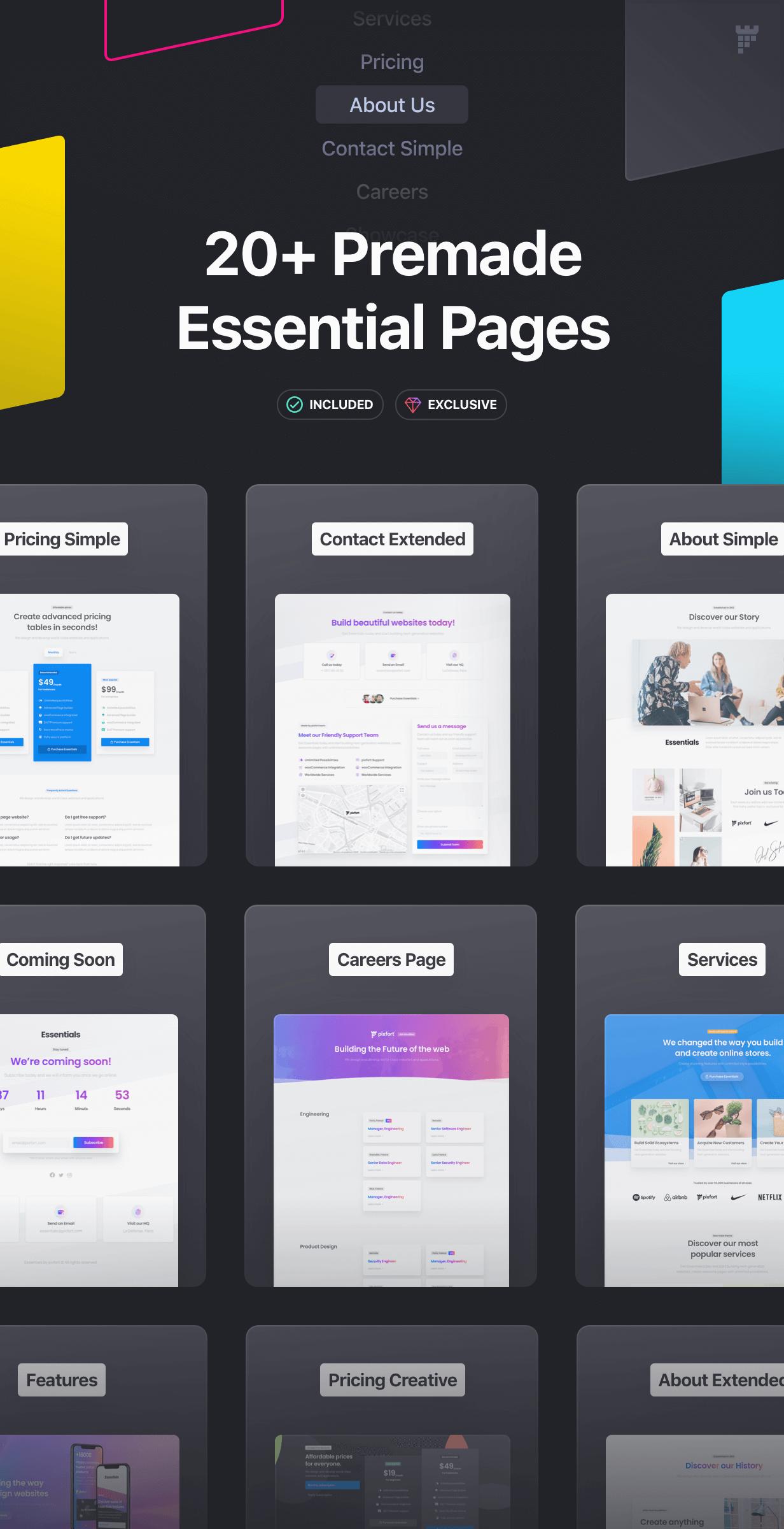 premade pages - Essentials | Multipurpose WordPress Theme