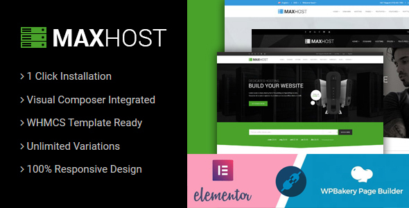 preview image.  large preview - MaxHost - Web Hosting, WHMCS and Corporate Business WordPress Theme with WooCommerce