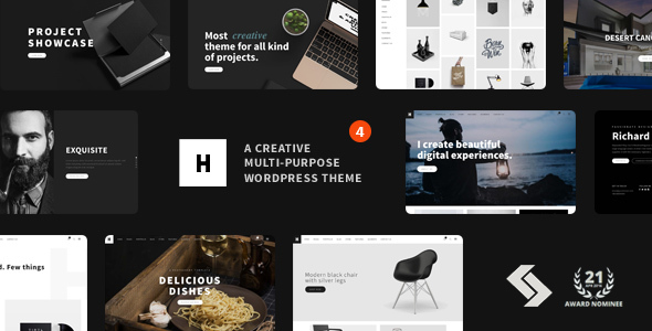 preview ver4.  large preview - Heli - Minimal Creative Black and White WordPress Theme
