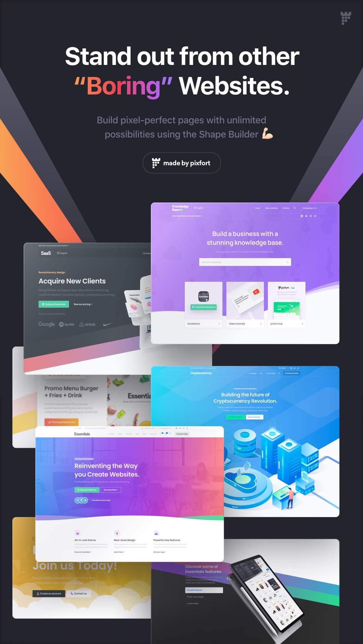 shape builder main - Essentials | Multipurpose WordPress Theme