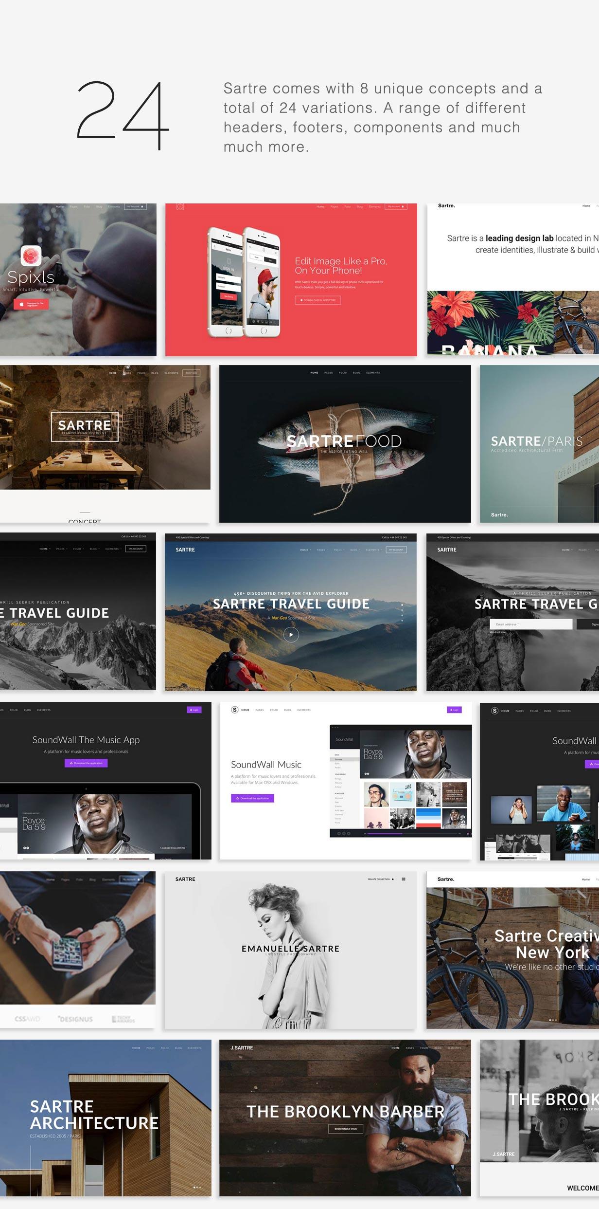 tf profile layouts - Sartre - Creative Multipurpose HTML Template