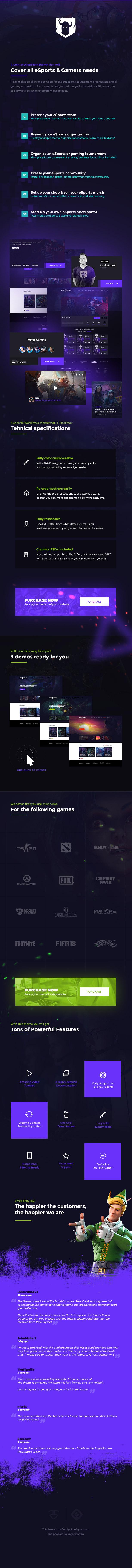 themeforest pixiefreak - PixieFreak | eSports gaming theme for teams & tournaments