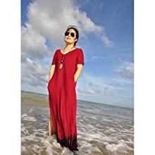vl3IJk94TMmg. UX220 TTW   - GRECERELLE Women's Casual Loose Pocket Long Dress Short Sleeve Split Maxi Dresses