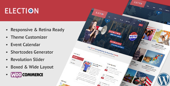 01 preview.  large preview - Election - Political WordPress Theme