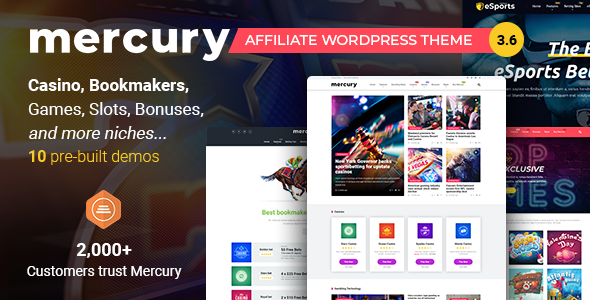 01 Mercury 3.6.3.  large preview - Mercury - Affiliate WordPress Theme. Casino, Gambling & Other Niches. Reviews & News