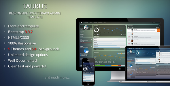01 preivew.  large preview - Taurus - Responsive Bootstrap Admin Template