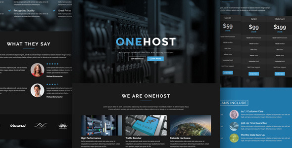 01 preview.  large preview.  large preview - Onehost - One Page Responsive Hosting Template