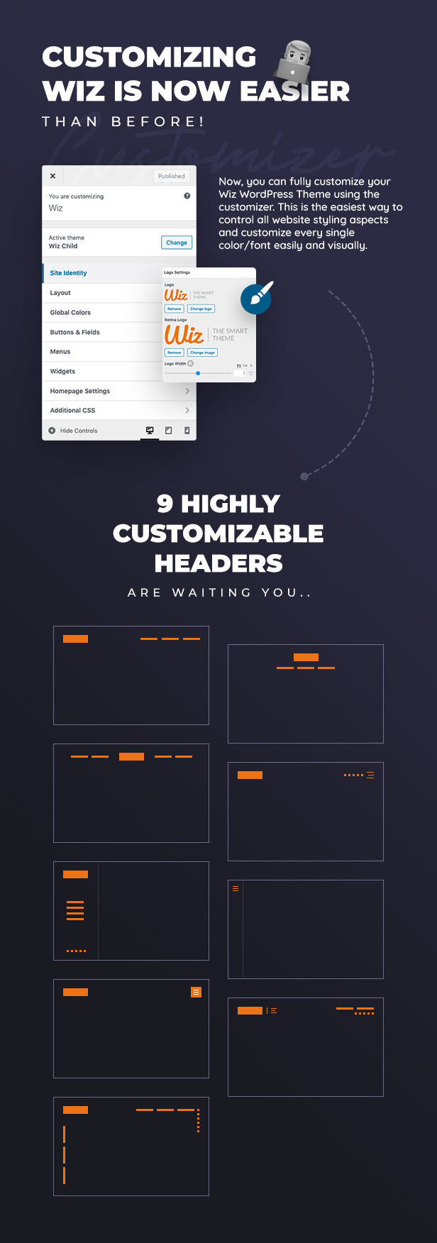 04 customizer settings - Wiz - Elementor MultiPurpose WordPress Theme