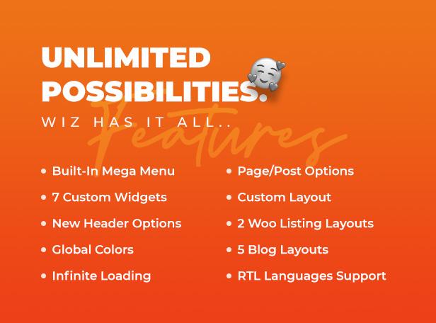 08 theme features - Wiz - Elementor MultiPurpose WordPress Theme