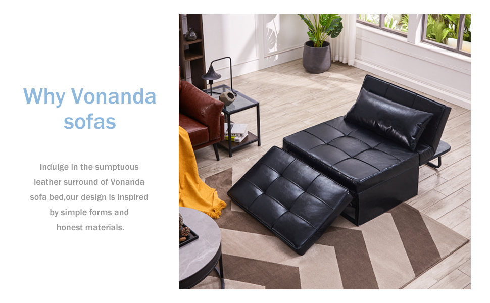 0822e54d 734c 49ee 8439 ffb02426a59f.  CR0,0,970,600 PT0 SX970 V1    - Vonanda Leather Ottoman Sofa Bed, Small Modern Couch Multi-Position Convertible Comfortable and Durable Leather Couch Lounger Guest Bed with Pillow for Small Space, Black