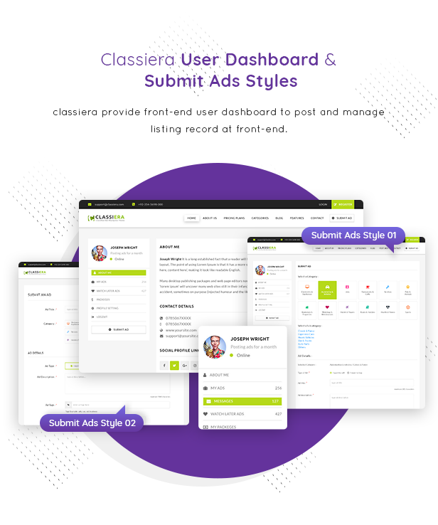09 user dashboard - Classiera – Classified Ads WordPress Theme