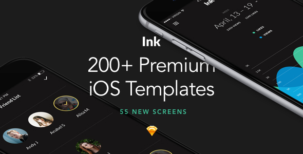 0preview.  large preview - Ink: Ultimate UI Kit of 200+ iOS Templates for Sketch