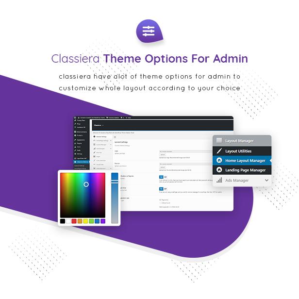 13 theme options - Classiera – Classified Ads WordPress Theme