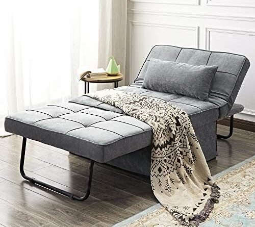 1622931884 51aVqTdUFSL. AC  500x445 - Vonanda Ottoman Folding Chair Bed, Modern Velvet Sleeper Sofa Multi-Position Convertible Couch Lounger Guest Bed with Pillow for Small Space, Velvet Gray