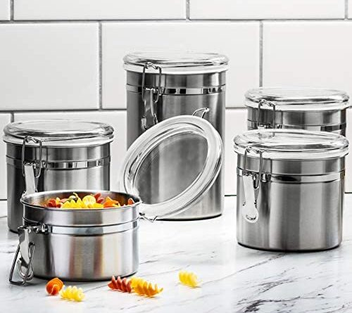 1623018530 51OJJcSTCPL. AC  500x445 - Le'raze [Set of 5] Stainless Steel Airtight Canister Set, Durable Stackable Caddy & Food Storage Container for Kitchen Counter, Tea, Sugar, Coffee, Candy, Flour Canister with Clear Acrylic Lids & Locking Clamp