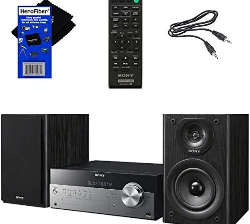 1623191804 51eQFIrz36L. AC  498x445 - Sony All-in-one Stylish Micro Music Hi-Fi Bookshelf Stereo System for Home with Bluetooth, USB, CD Player & AM/FM Radio + Bundle with Remote + Aux Cable + HeroFiber Cloth, Compatible with Sony System