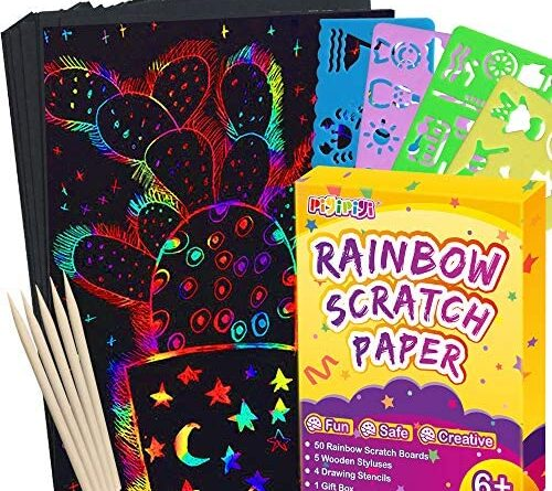 1623711175 61Yx8lpp1GL. AC  500x445 - pigipigi Scratch Paper Art for Kids - 59 Pcs Magic Rainbow Scratch Paper Off Set Scratch Crafts Arts Supplies Kits Pads Sheets Boards for Party Games Christmas Birthday Gift