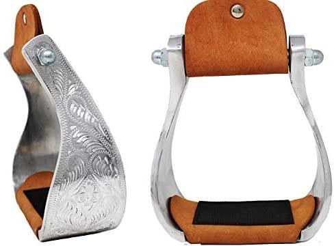 1624230914 41WZDCMKUOL. AC  - CHALLENGER Horse Saddle Stirrups Western Aluminium Engraved Trail Riding 51204