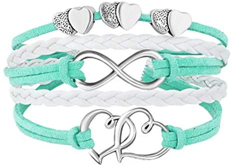 1624534421 41IyQCcg2VL. AC  - Hithop Leather Wrap Bracelets Girls Double Hearts Infinity Rope Wristband Bracelets Gifts (Green)