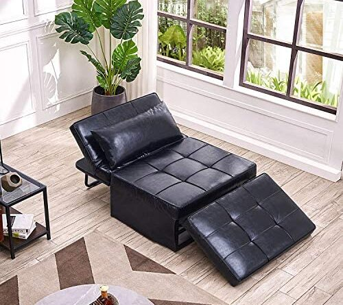 1624880640 51j3D6EpqCL. AC  500x445 - Vonanda Leather Ottoman Sofa Bed, Small Modern Couch Multi-Position Convertible Comfortable and Durable Leather Couch Lounger Guest Bed with Pillow for Small Space, Black