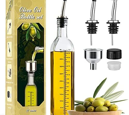 1625010755 51X7XL3tF9S. AC  499x445 - Aozita 17oz Glass Olive Oil Dispenser Bottle - 500ml Clear -Oil & Vinegar Cruet with Pourers and Funnel - Olive Oil Carafe Decanter for Kitchen