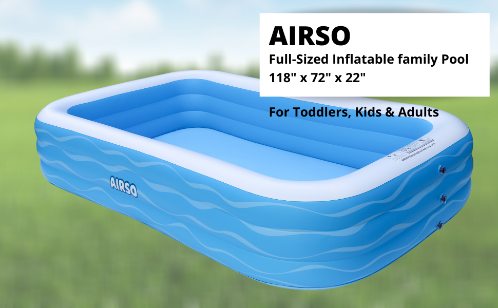 """2c0f3e11 9402 4995 87c2 431b01816971.  CR0,0,970,600 PT0 SX970 V1    - Inflatable Swimming Pool Family Full-Sized Inflatable Pools 118"""" x 72"""" x 22"""" Thickened Family Lounge Pool for Toddlers, Kids & Adults Oversized Kiddie Pool Outdoor Blow Up Pool for Backyard, Garden"""