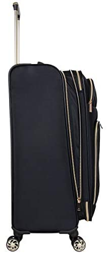 """31eIGnPaEdL. AC  - Kenneth Cole Reaction Women's Chelsea 24"""" Chevron Quilted Softside Expandable 8-Wheel Spinner Checked Suitcase, Black, Inch"""