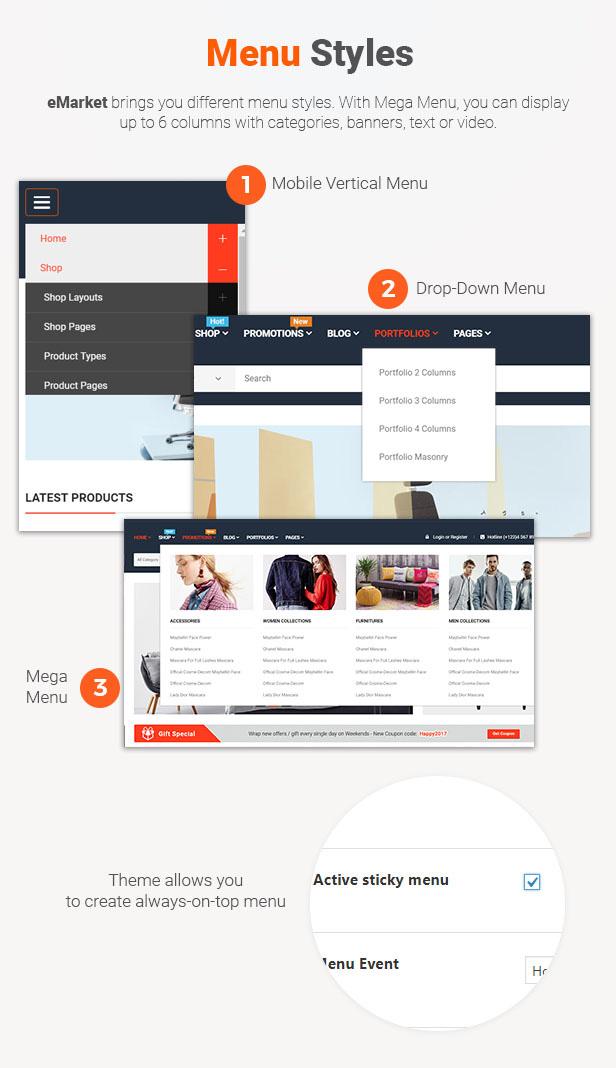 4 Menu Styles - eMarket - Multi Vendor MarketPlace Elementor WordPress Theme (34+ Homepages & 3 Mobile Layouts)
