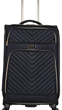 """412 ciBVOL. AC  252x445 - Kenneth Cole Reaction Women's Chelsea 24"""" Chevron Quilted Softside Expandable 8-Wheel Spinner Checked Suitcase, Black, Inch"""